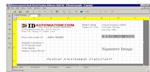 The IDAutomation.com Check Printing Software included with MICR font.
